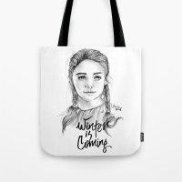 arya stark Tote Bags featuring Arya stark by Nicolaine