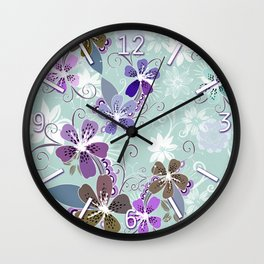 Summer blossom, blue and purple Wall Clock