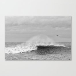 Seaham waves black and white Canvas Print