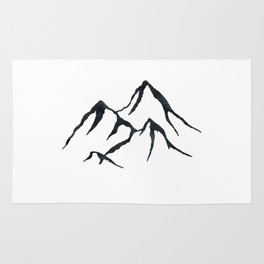 MOUNTAINS Black and White Rug