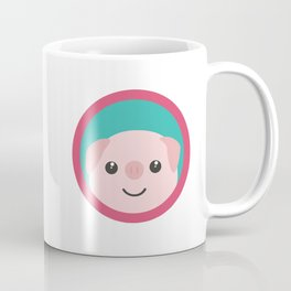 Cute pink pig with purple circle Coffee Mug