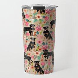 Rottweiler florals cute dog pattern pet friendly dog lover gifts for all dog breeds Travel Mug