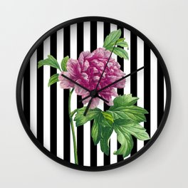 Pink Peony Black Stripes Chic Wall Clock
