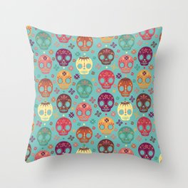 B's Candy Skulls Throw Pillow