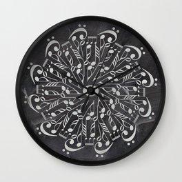 Musical mandala on chalkboard Wall Clock