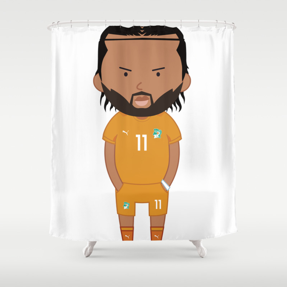 Didier Drogba - Ivory Coast - World Cup 2014 Shower Curtain by Toonsoccer CTN9022451
