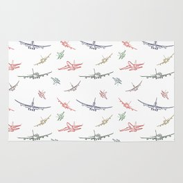 Colorful Plane Sketches Rug
