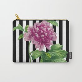 Pink Peony Black Stripes Chic Carry-All Pouch
