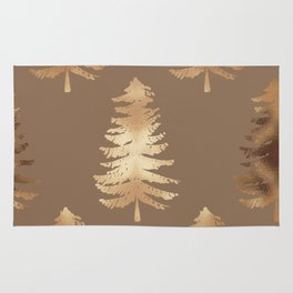 Gold Foil Christmas Trees Wall Tapestry Rug