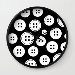 Black and White Buttons Pattern Wall Clock