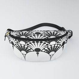 black and white art deco inspired fan pattern Fanny Pack