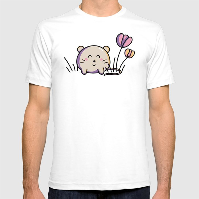Cute Kawaii Spring Mouse and Flowers T-shirt