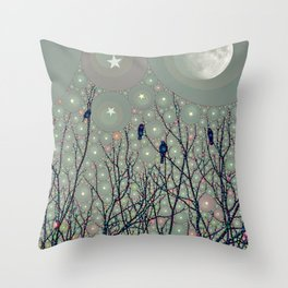 A Dawning with black birds lights on bare branches stars and gibbous moon  Throw Pillow