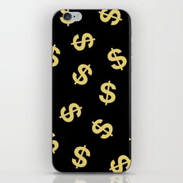 Dollar Signs Black & Gold iPhone Skin