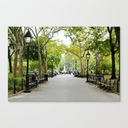 Morning Stroll in the Village Canvas Print