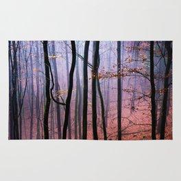 Foggy fall forest photography Rug