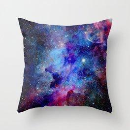 Blue Glitter Galaxy Throw Pillow