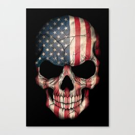 American Flag Skull on Black Canvas Print