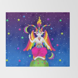 1997 Neon Rainbow Baphomet Throw Blanket