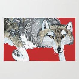 Totem Hokkaido grey wolf (Red) Rug
