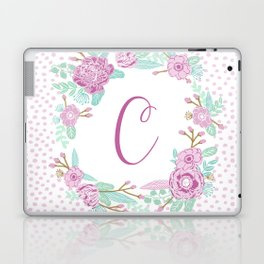 Monogram C - cute girls purple florals flower wreath, lilac florals, baby girl, baby blanket Laptop & iPad Skin