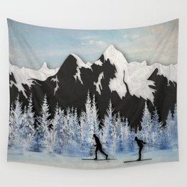 Cross Country Skiing Wall Tapestry