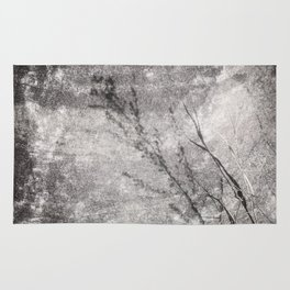 Black and White Grass Shadows on Stone Rug
