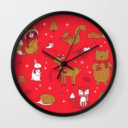 Winter Woodlands - Red Wall Clock