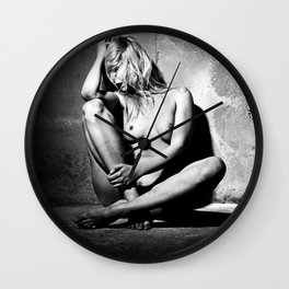 Lonely Beauty - Nude woman alone in a dungeon or cellar Wall Clock