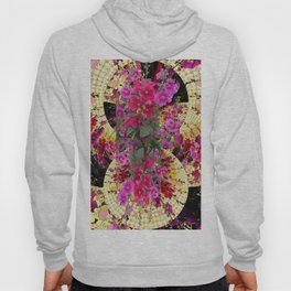 CORAL PINK & HOLLYHOCKS ABSTRACT GARDEN Hoody