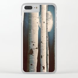 Birch wood at night Clear iPhone Case
