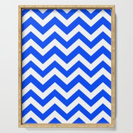 Blue (RYB) - blue color - Zigzag Chevron Pattern Serving Tray