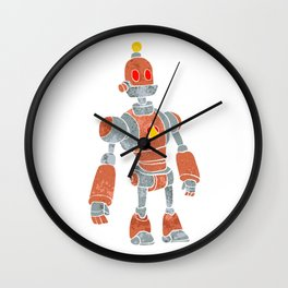 brown robot with lamp head Wall Clock