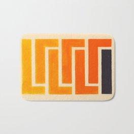 Orange & Black Geometric Pattern Bath Mat