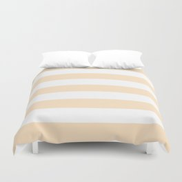 Bisque - solid color - white stripes pattern Duvet Cover