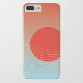 Red sun & white waves iPhone Case