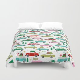 Christmas car tradition christmas trees holiday pattern winter festive Duvet Cover