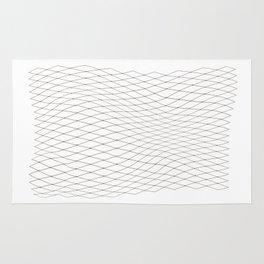 Fish net / black on white distorted geometry Rug