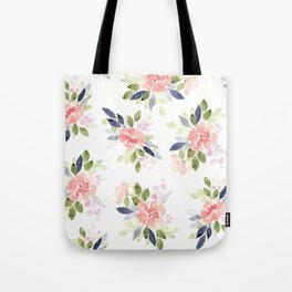 Peach & Nvy Watercolor Flowers Tote Bag