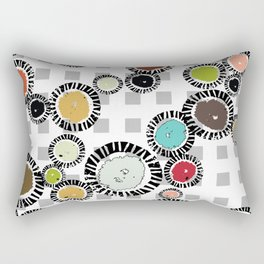 Wedge Circle on Gray Check Rectangular Pillow