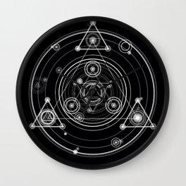 Sacred geometry black and white geometric art Wall Clock