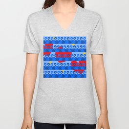 Graceful Blue Swans and Red Hearts Pattern Unisex V-Neck