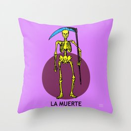 La Muerte Mexican Loteria Card Throw Pillow