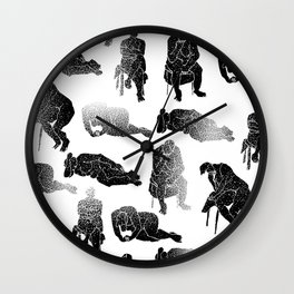 b&w fading figures Wall Clock