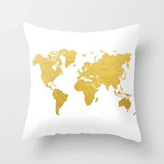 Gold world map throw pillow by bysamantha society6 gumiabroncs Choice Image