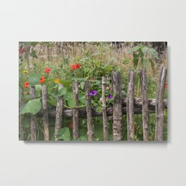 Old Fence and Flowers Summer Scenery Metal Print