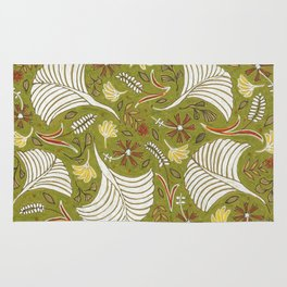 Rustic Earth-Green Floral Patten Rug