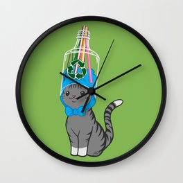 Grey Tabby Wears Recycled Plastic Hat Wall Clock