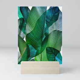Palm leaf jungle Bali banana palm frond greens Mini Art Print