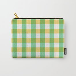 mint yellow plaid Carry-All Pouch